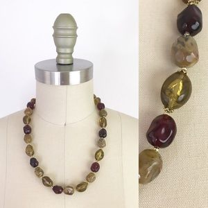 Vintage Chunky Plastic Stone Beaded Necklace 1071